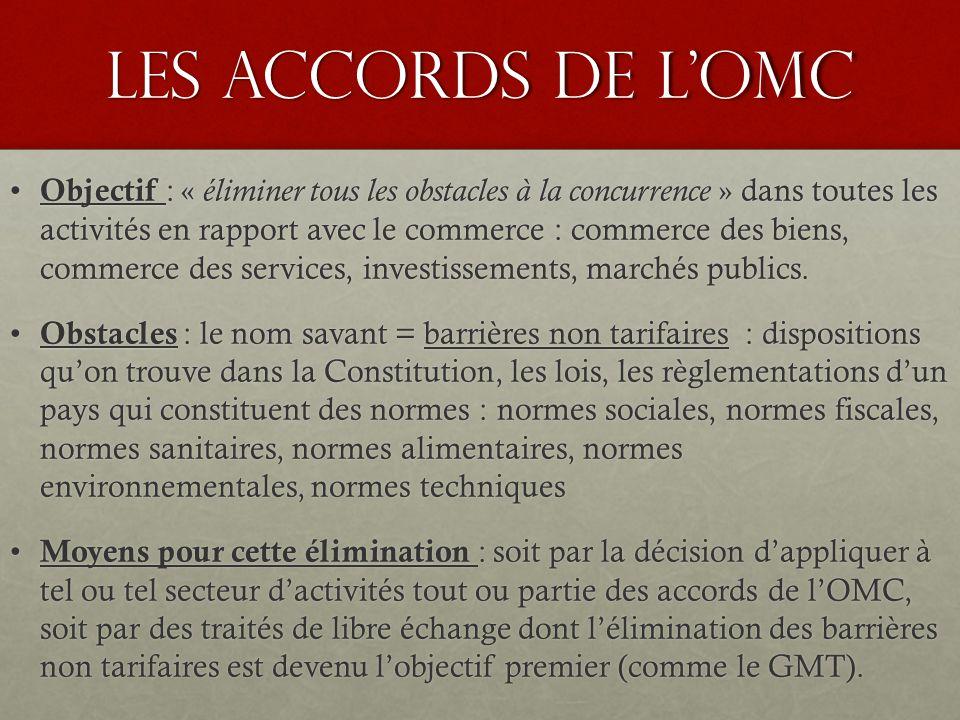 Les accords de l'OMC Objectif : « éliminer tous les obstacles à la concurrence » dans toutes les activités en rapport avec le commerce : commerce des biens, commerce des services, investissements, marchés publics.