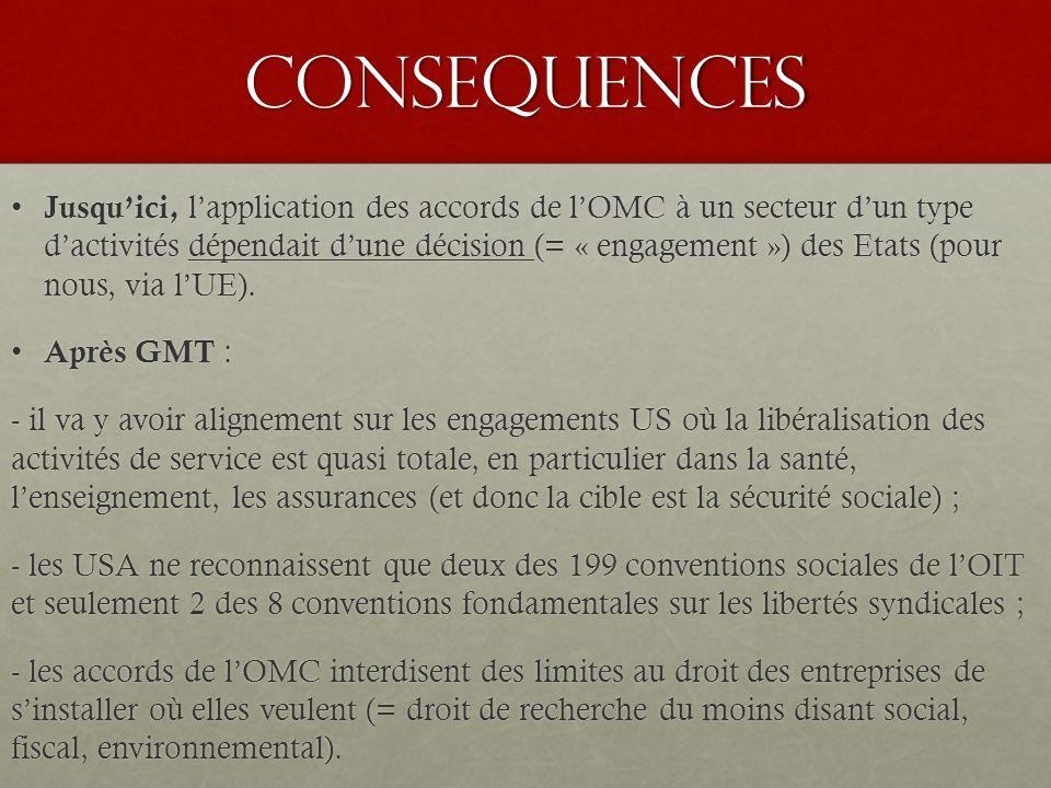 CONSEQUENCES Jusqu'ici, l'application des accords de l'OMC à un secteur d'un type d'activités dépendait d'une décision (= « engagement ») des Etats (pour nous, via l'UE).