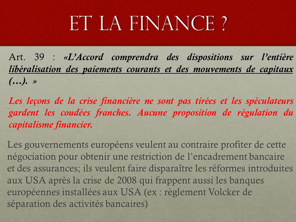Et la finance . Art.