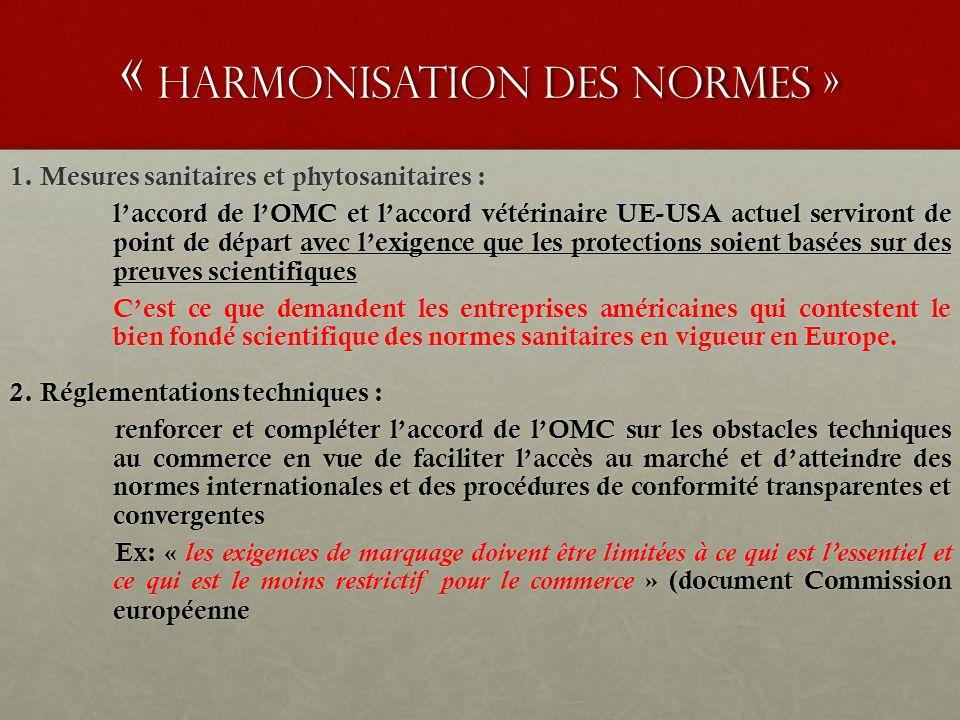 « harmonisation des normes » 1. Mesures sanitaires et phytosanitaires : l'accord de l'OMC et l'accord vétérinaire UE-USA actuel serviront de point de