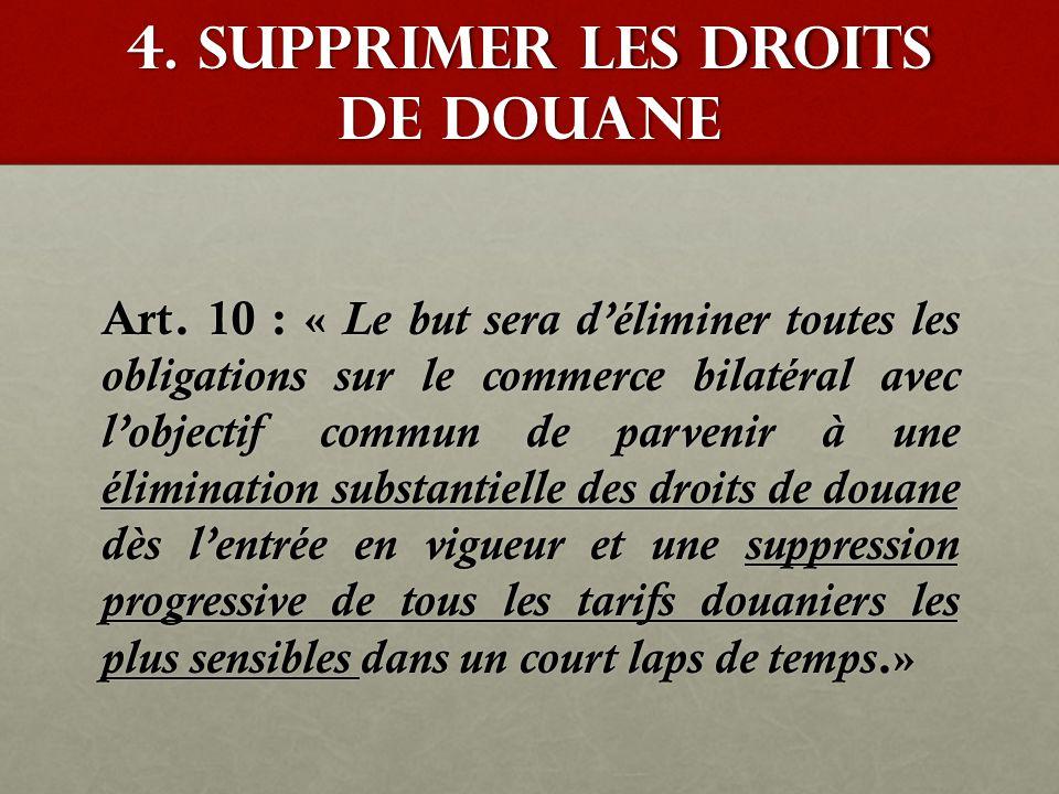 4. Supprimer les droits de douane Art. 10 : « Le but sera d'éliminer toutes les obligations sur le commerce bilatéral avec l'objectif commun de parven