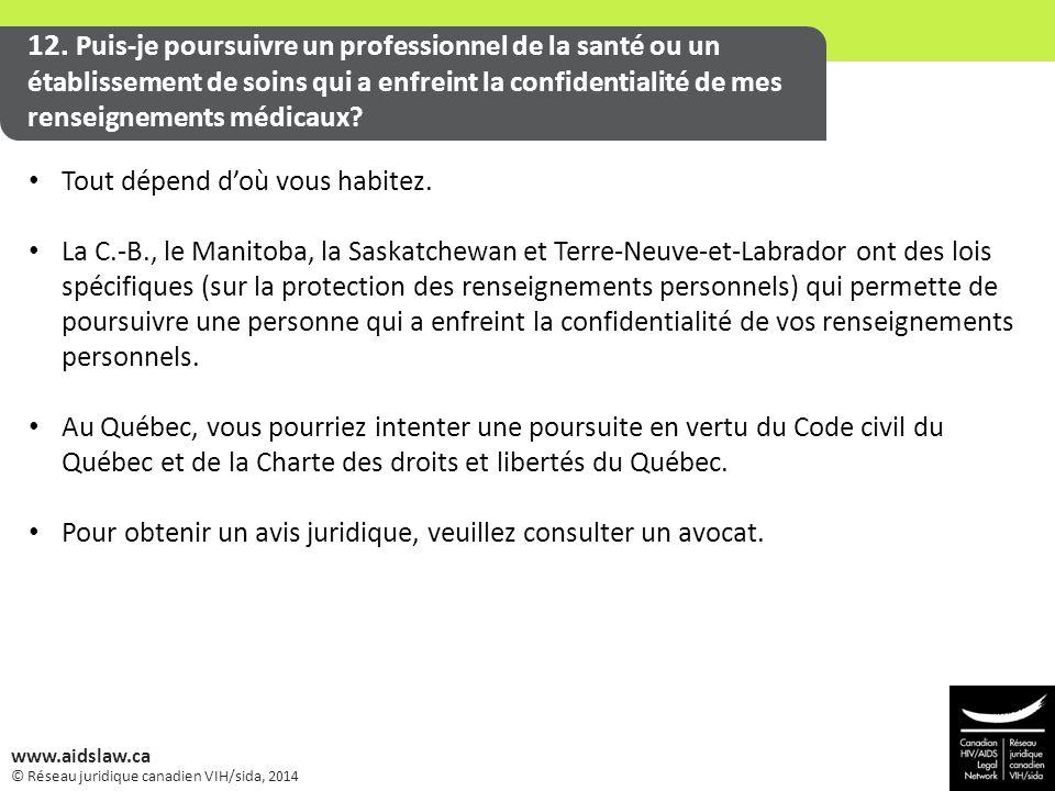 © Réseau juridique canadien VIH/sida, 2014 www.aidslaw.ca 12. Puis-je poursuivre un professionnel de la santé ou un établissement de soins qui a enfre