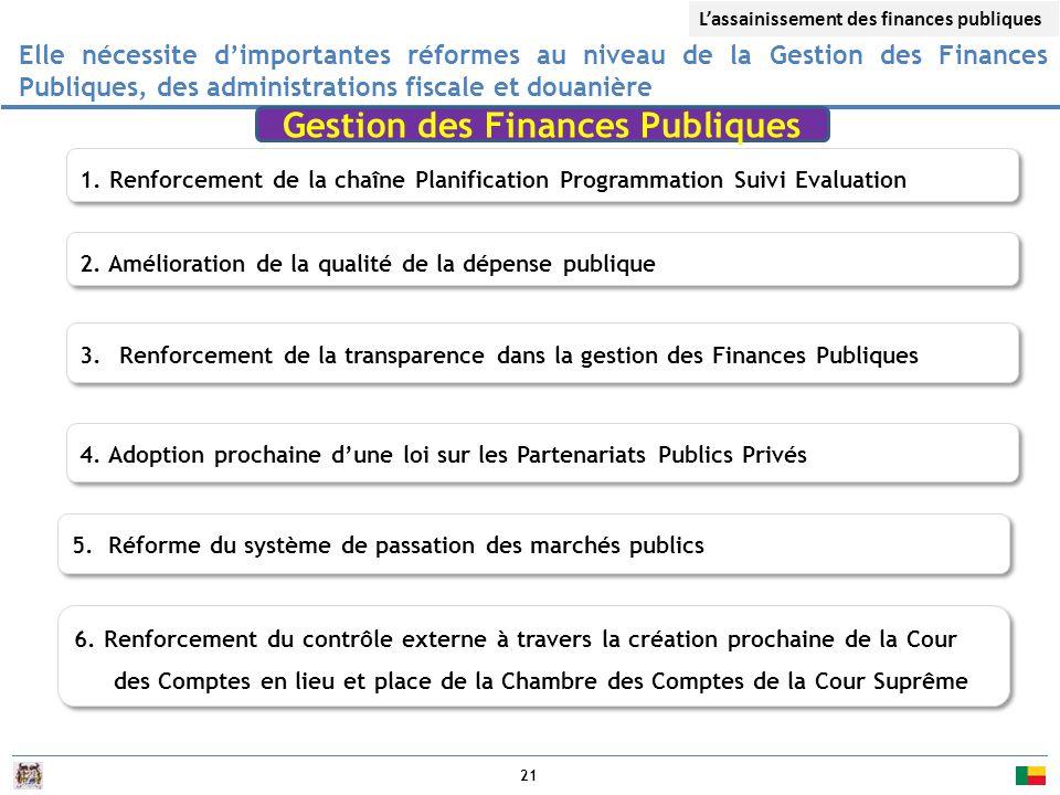 21 Elle nécessite d'importantes réformes au niveau de la Gestion des Finances Publiques, des administrations fiscale et douanière 1.