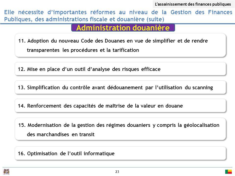 23 Elle nécessite d'importantes réformes au niveau de la Gestion des Finances Publiques, des administrations fiscale et douanière (suite) 12.