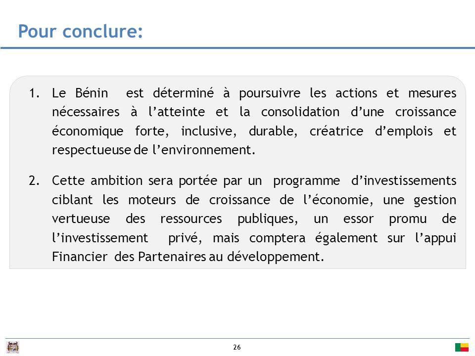 26 1.Le Bénin est déterminé à poursuivre les actions et mesures nécessaires à l'atteinte et la consolidation d'une croissance économique forte, inclusive, durable, créatrice d'emplois et respectueuse de l'environnement.
