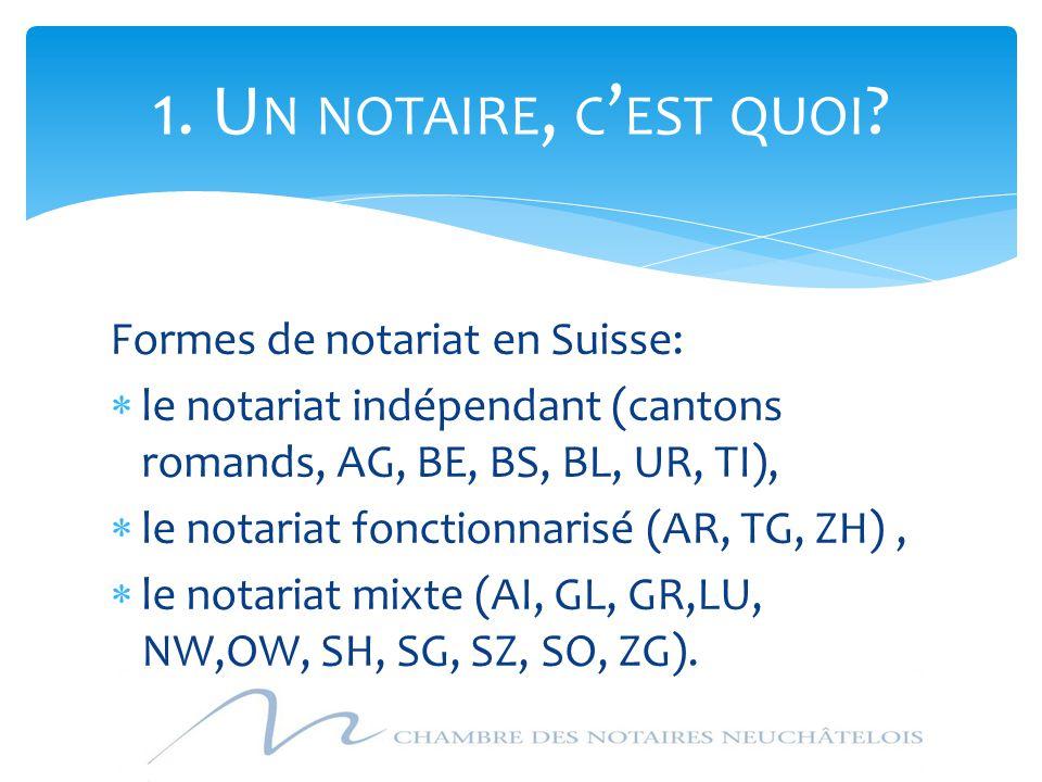 Formes de notariat en Suisse:  le notariat indépendant (cantons romands, AG, BE, BS, BL, UR, TI),  le notariat fonctionnarisé (AR, TG, ZH),  le not