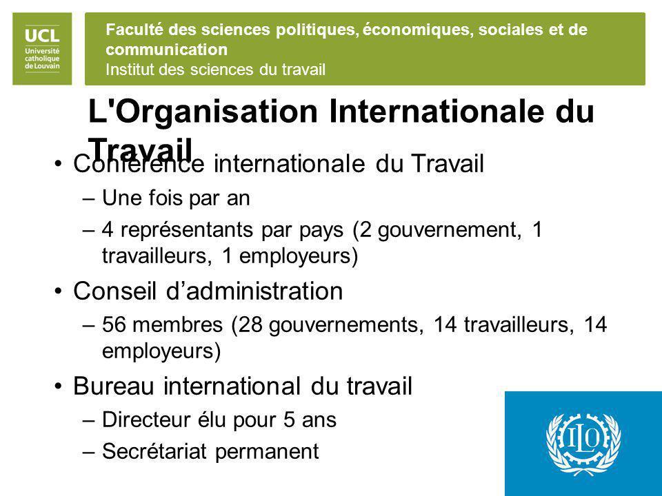 Faculté des sciences politiques, économiques, sociales et de communication Institut des sciences du travail L'Organisation Internationale du Travail C