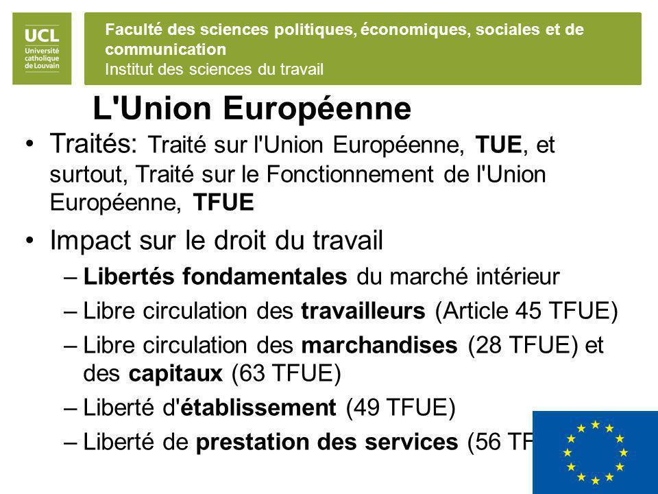 Faculté des sciences politiques, économiques, sociales et de communication Institut des sciences du travail L'Union Européenne Traités: Traité sur l'U