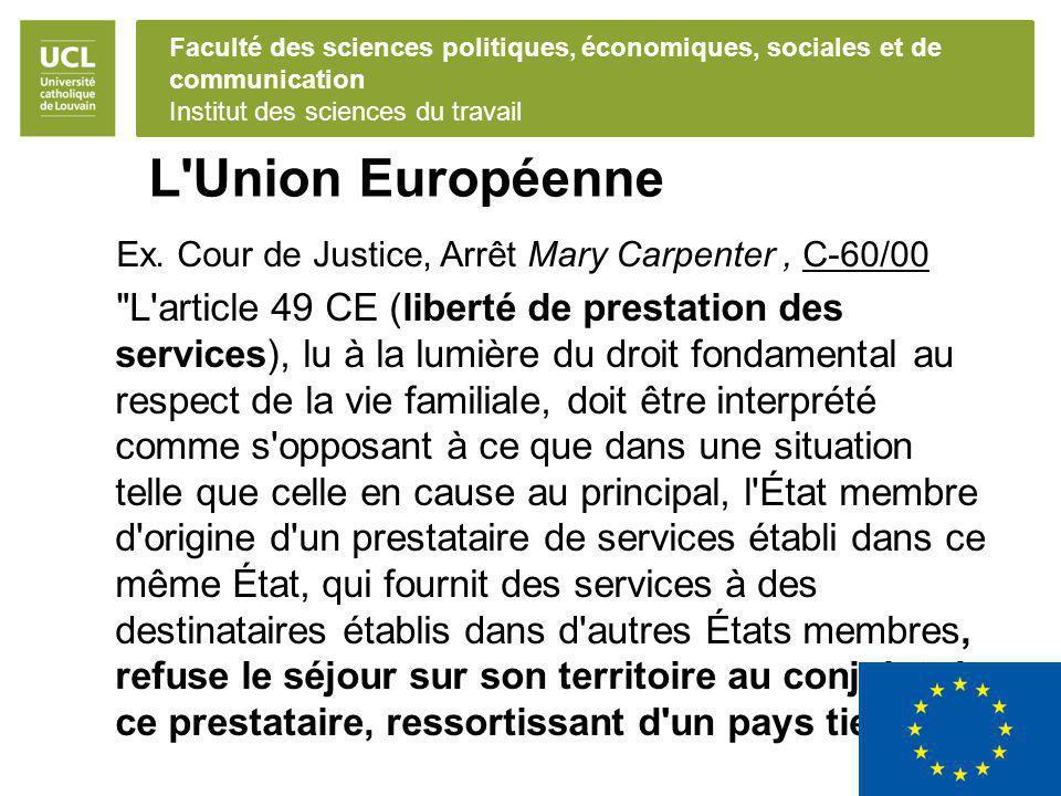 Faculté des sciences politiques, économiques, sociales et de communication Institut des sciences du travail L Union Européenne Ex.