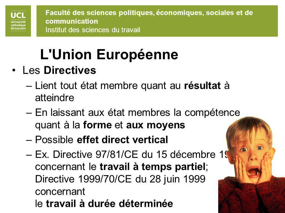 Faculté des sciences politiques, économiques, sociales et de communication Institut des sciences du travail L'Union Européenne Les Directives –Lient t