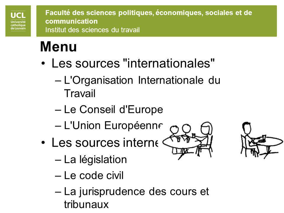 Faculté des sciences politiques, économiques, sociales et de communication Institut des sciences du travail Menu Les sources