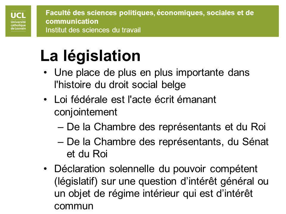 Faculté des sciences politiques, économiques, sociales et de communication Institut des sciences du travail La législation Une place de plus en plus i