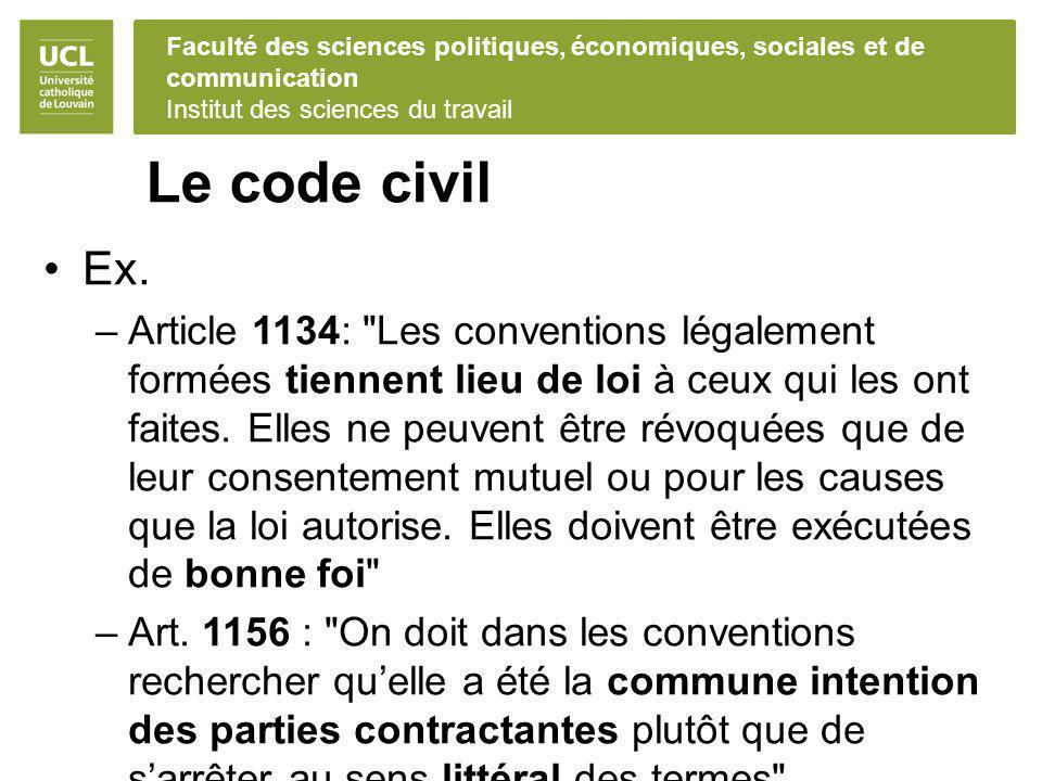 Faculté des sciences politiques, économiques, sociales et de communication Institut des sciences du travail Le code civil Ex. –Article 1134: