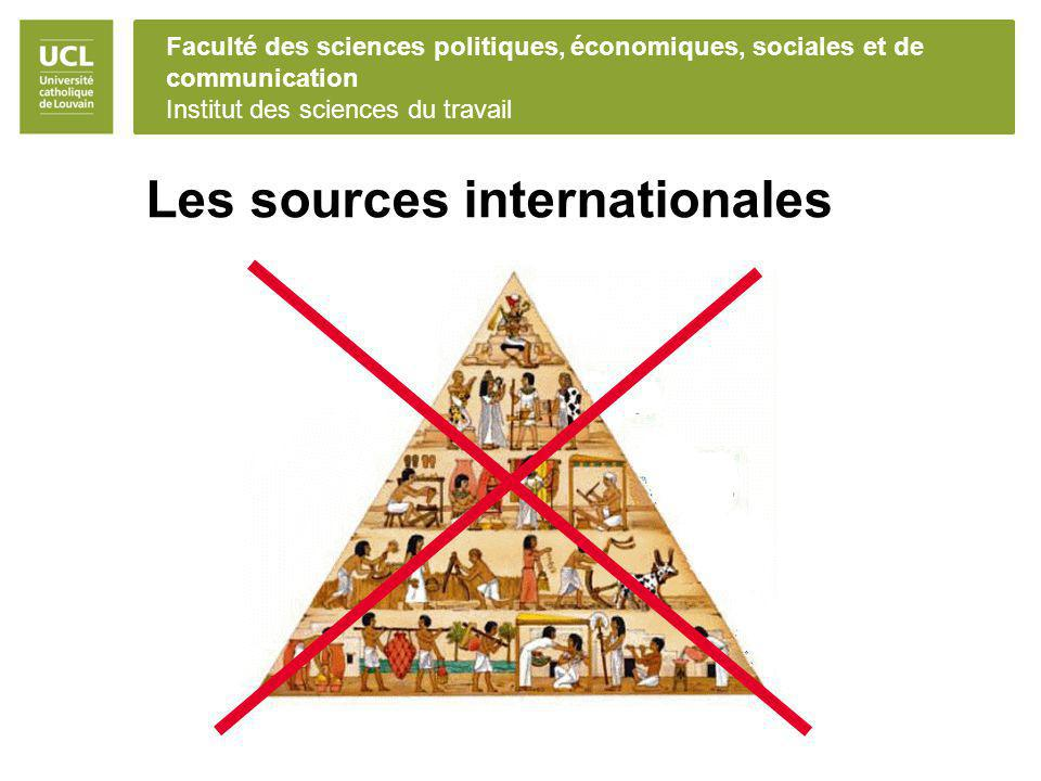 Faculté des sciences politiques, économiques, sociales et de communication Institut des sciences du travail Les sources internationales