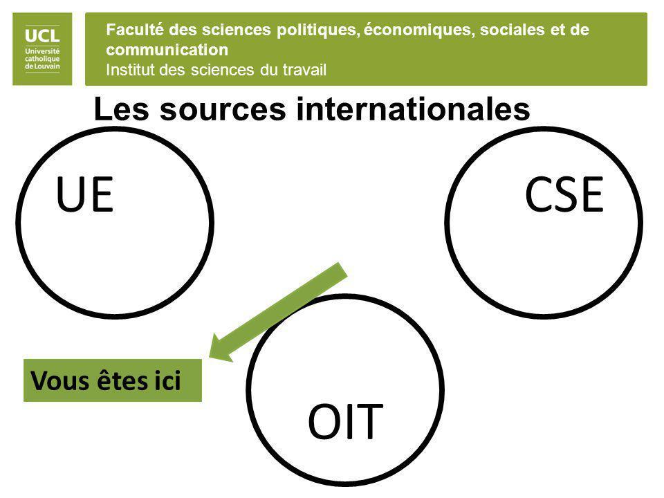 Faculté des sciences politiques, économiques, sociales et de communication Institut des sciences du travail Les sources internationales UECSE OIT Vous