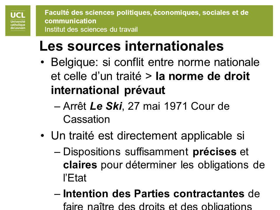 Faculté des sciences politiques, économiques, sociales et de communication Institut des sciences du travail Les sources internationales Belgique: si c