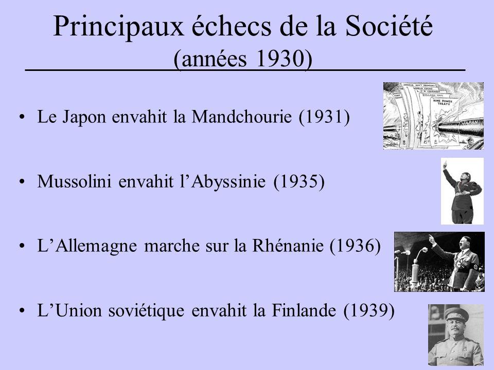 Principaux échecs de la Société (années 1930) Le Japon envahit la Mandchourie (1931) Mussolini envahit l'Abyssinie (1935) L'Allemagne marche sur la Rhénanie (1936) L'Union soviétique envahit la Finlande (1939)