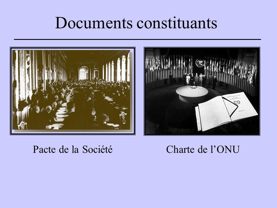 Documents constituants Pacte de la SociétéCharte de l'ONU