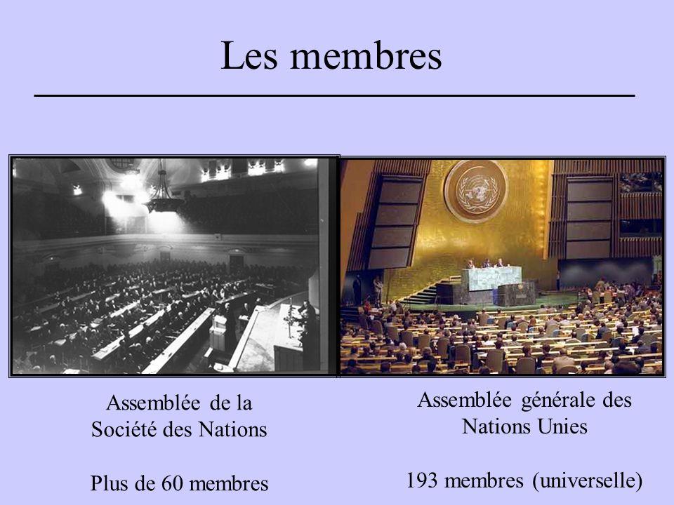 Les membres Assemblée de la Société des Nations Plus de 60 membres Assemblée générale des Nations Unies 193 membres (universelle)