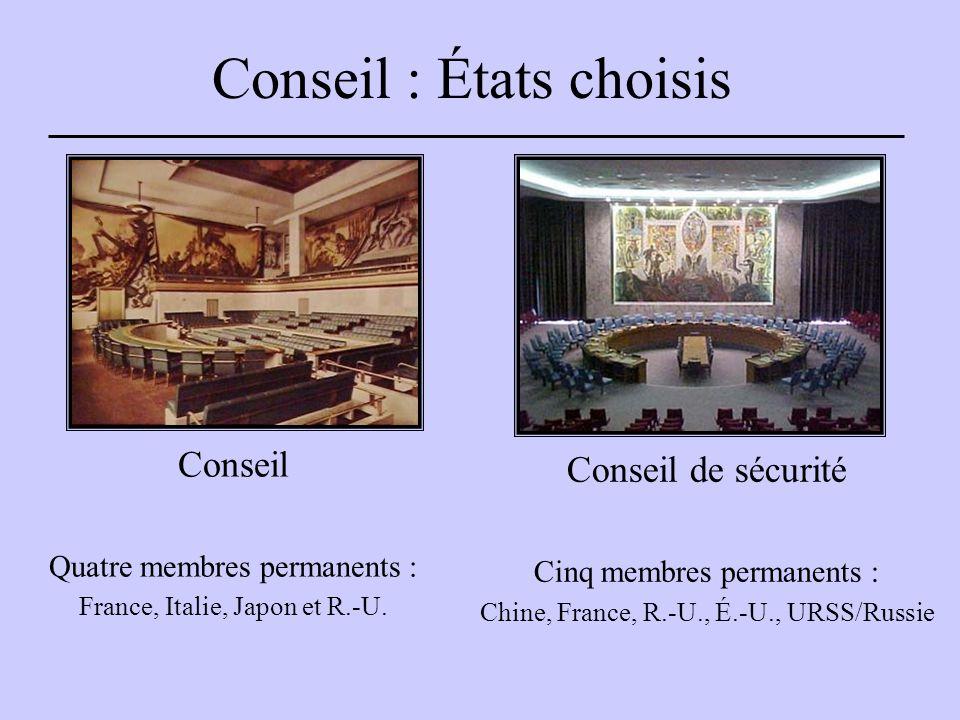 Conseil : États choisis Conseil de sécurité Cinq membres permanents : Chine, France, R.-U., É.-U., URSS/Russie Conseil Quatre membres permanents : France, Italie, Japon et R.-U.