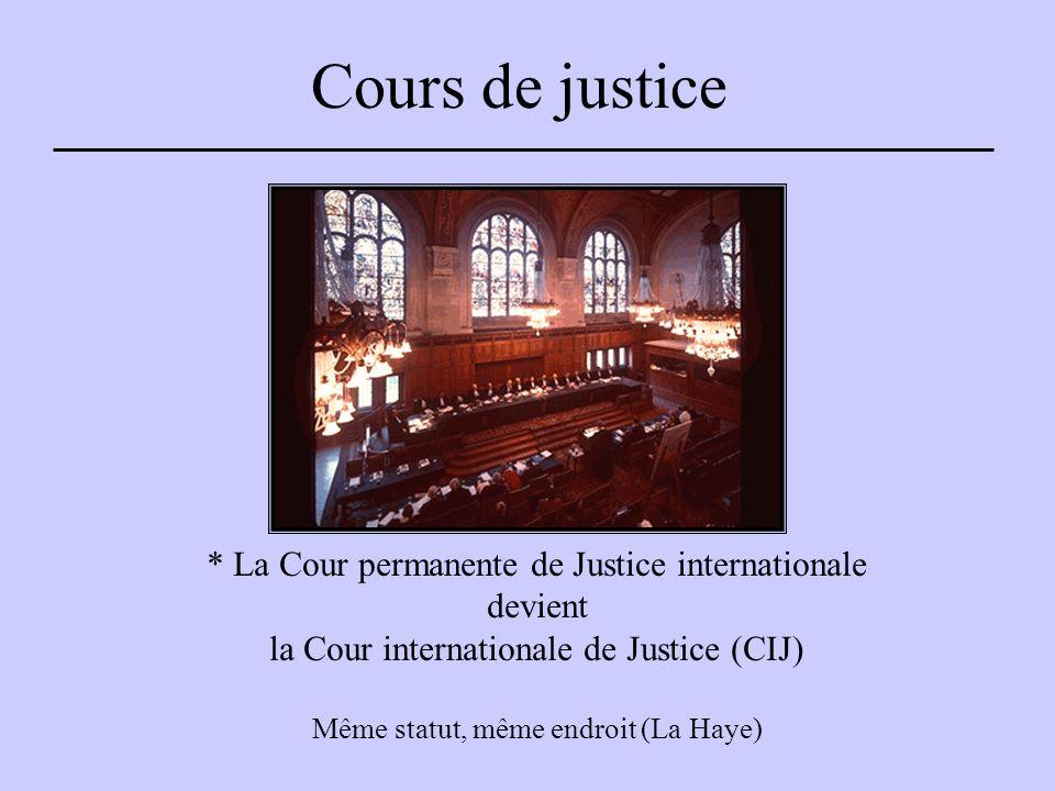 Cours de justice * La Cour permanente de Justice internationale devient la Cour internationale de Justice (CIJ) Même statut, même endroit (La Haye)