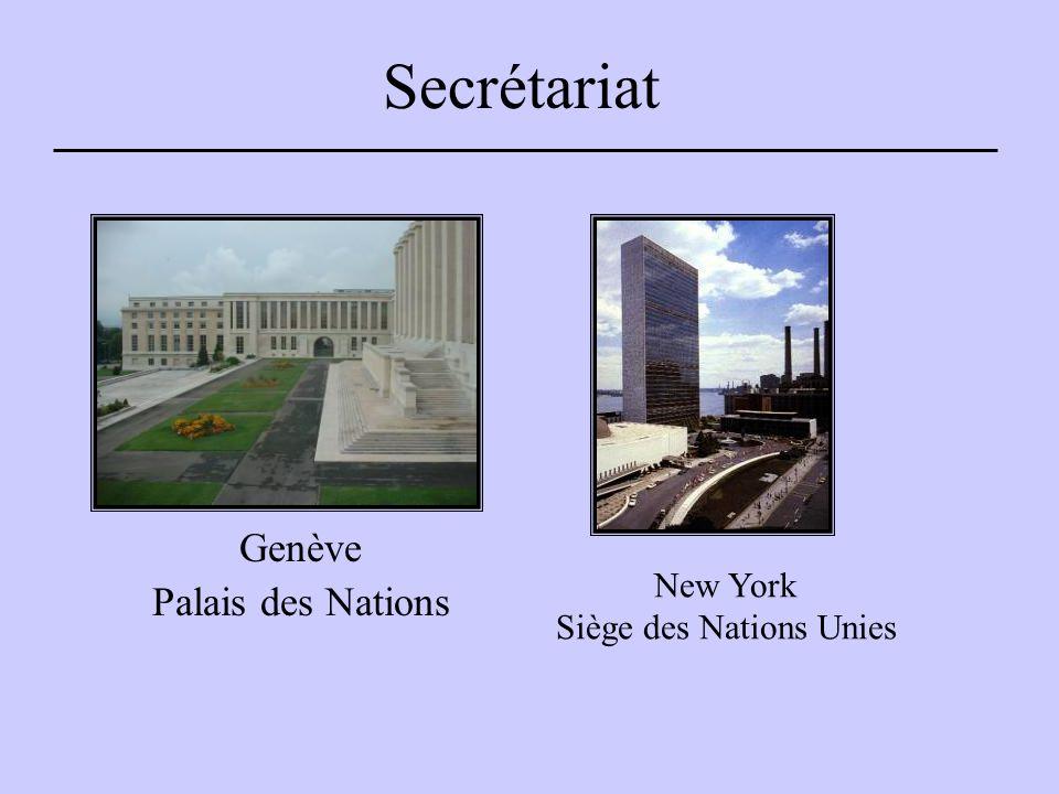 Secrétariat Genève Palais des Nations New York Siège des Nations Unies