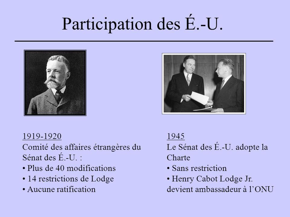Participation des É.-U. 1919-1920 Comité des affaires étrangères du Sénat des É.-U.
