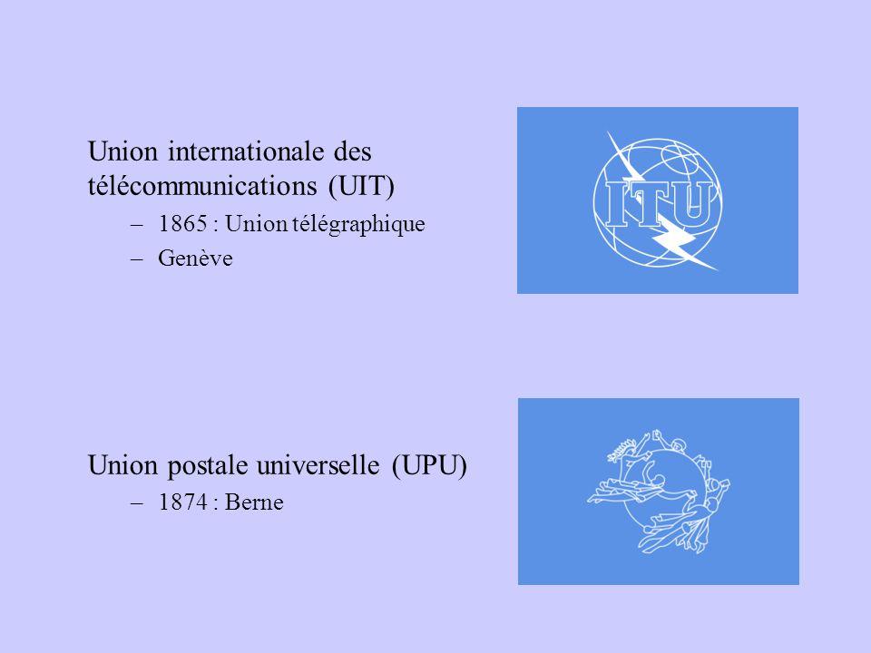 Union internationale des télécommunications (UIT) –1865 : Union télégraphique –Genève Union postale universelle (UPU) –1874 : Berne