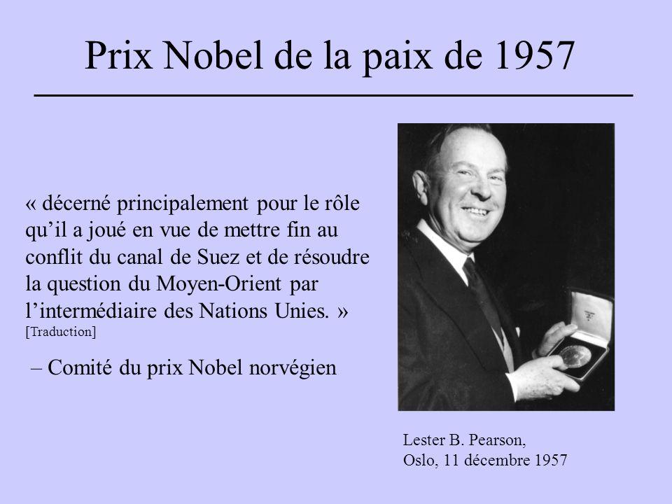 Prix Nobel de la paix de 1957 Lester B.