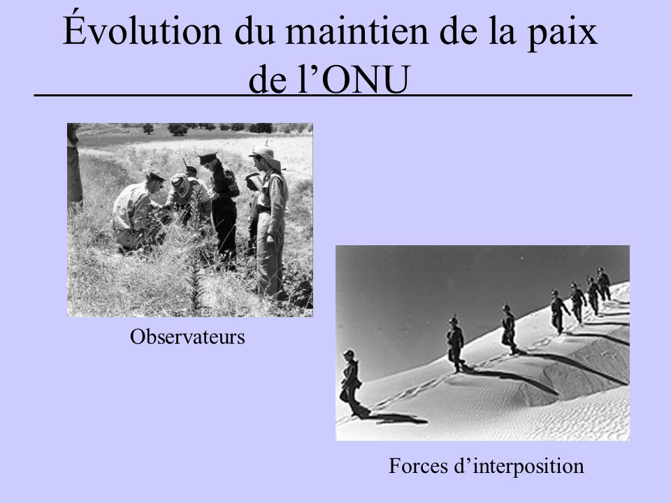 Évolution du maintien de la paix de l'ONU Observateurs Forces d'interposition