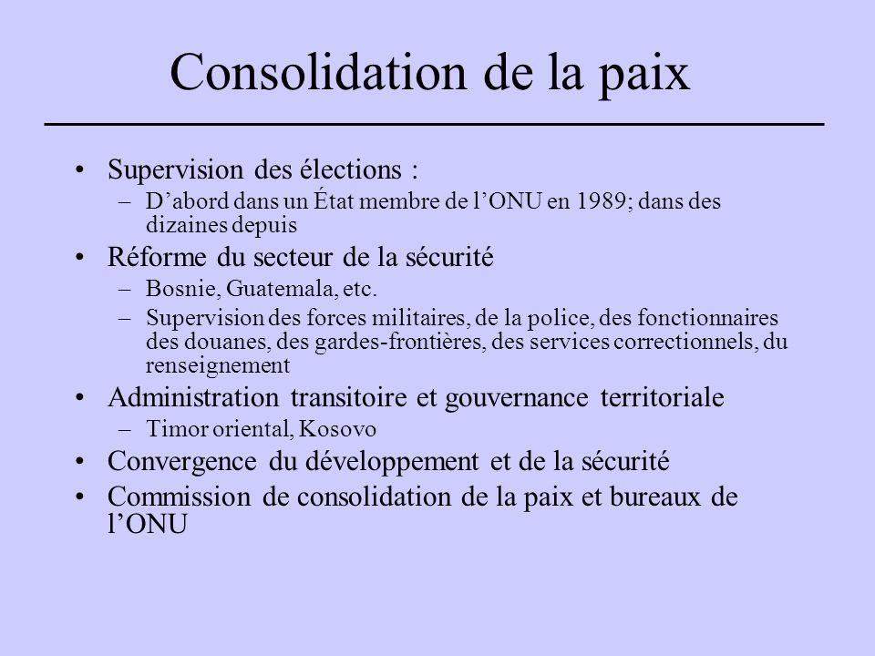 Consolidation de la paix Supervision des élections : –D'abord dans un État membre de l'ONU en 1989; dans des dizaines depuis Réforme du secteur de la sécurité –Bosnie, Guatemala, etc.
