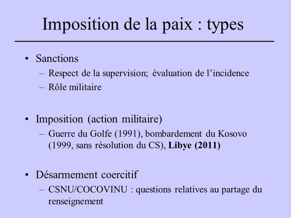 Imposition de la paix : types Sanctions –Respect de la supervision; évaluation de l'incidence –Rôle militaire Imposition (action militaire) –Guerre du