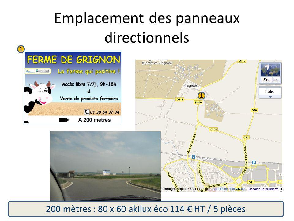 Emplacement des panneaux directionnels 1 1 200 mètres : 80 x 60 akilux éco 114 € HT / 5 pièces