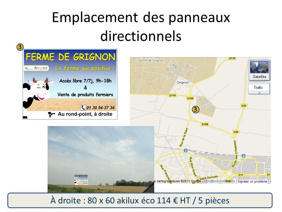 3 3 À droite : 80 x 60 akilux éco 114 € HT / 5 pièces Emplacement des panneaux directionnels