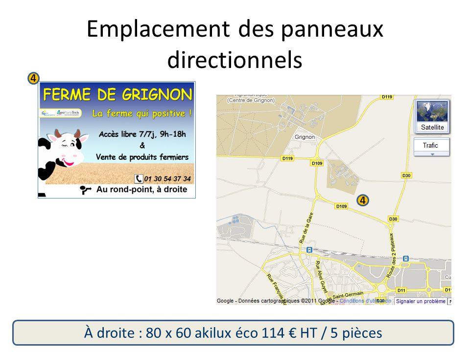 4 4 À droite : 80 x 60 akilux éco 114 € HT / 5 pièces Emplacement des panneaux directionnels
