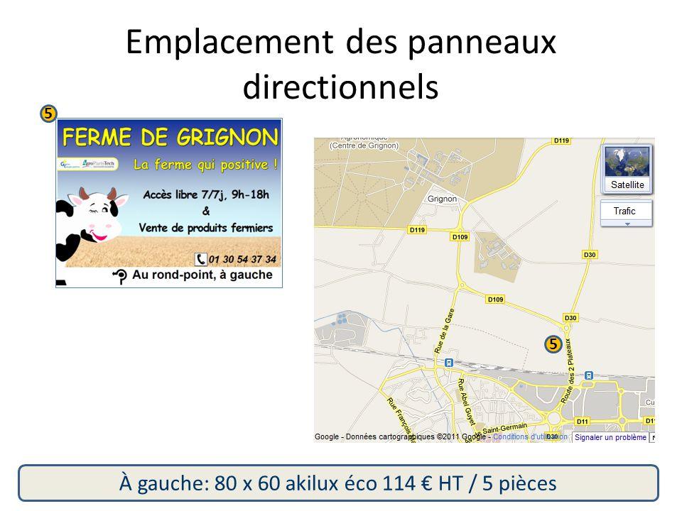 5 5 À gauche: 80 x 60 akilux éco 114 € HT / 5 pièces Emplacement des panneaux directionnels