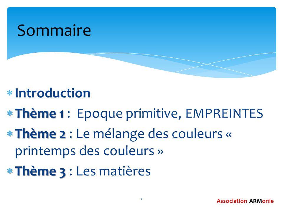  Introduction  Thème 1  Thème 1 : Epoque primitive, EMPREINTES  Thème 2  Thème 2 : Le mélange des couleurs « printemps des couleurs »  Thème 3 