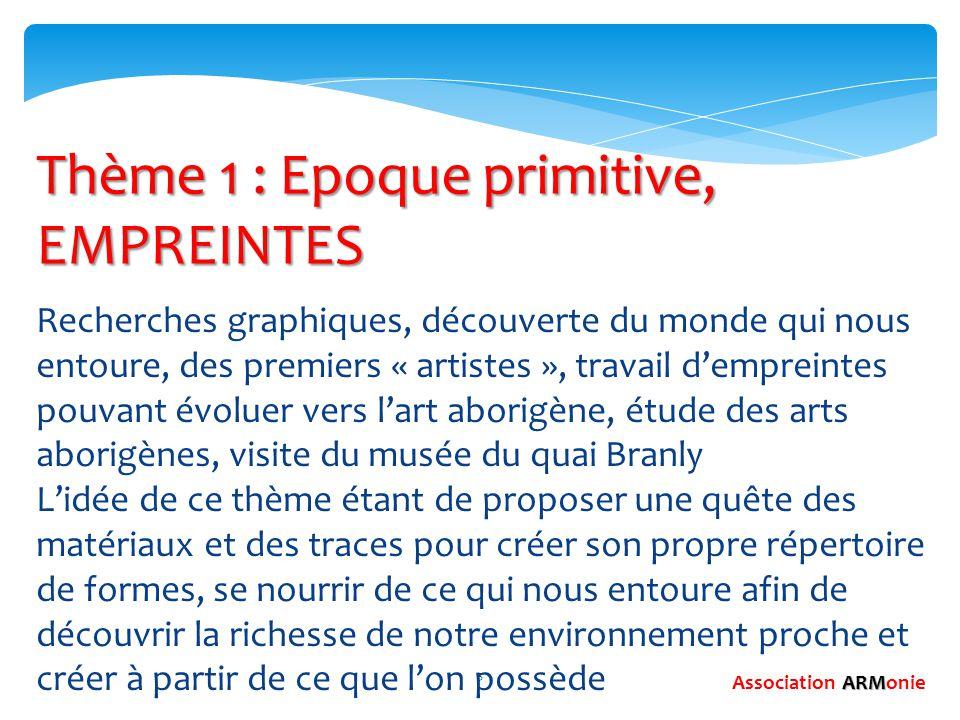 5 Thème 1 : Epoque primitive, EMPREINTES Recherches graphiques, découverte du monde qui nous entoure, des premiers « artistes », travail d'empreintes