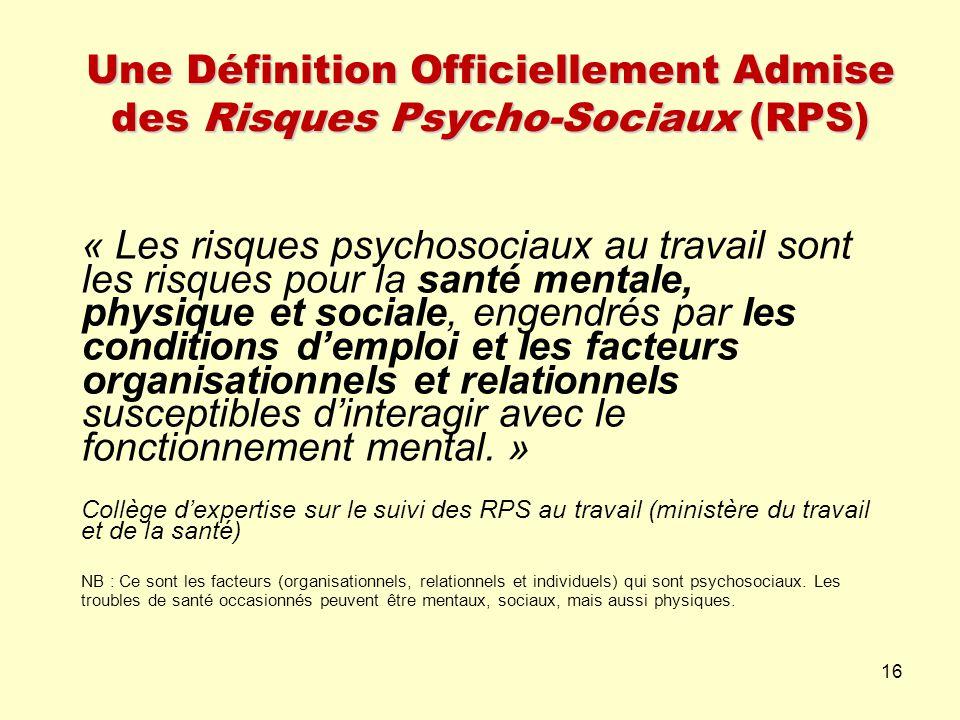 Une Définition Officiellement Admise des Risques Psycho-Sociaux (RPS) « Les risques psychosociaux au travail sont les risques pour la santé mentale, p