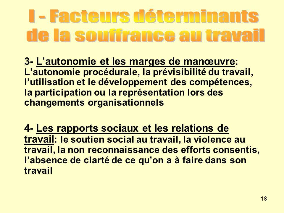 3- L'autonomie et les marges de manœuvre : L'autonomie procédurale, la prévisibilité du travail, l'utilisation et le développement des compétences, la