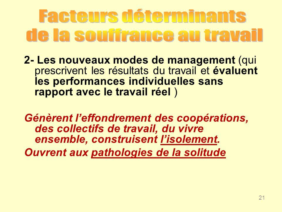 2- Les nouveaux modes de management (qui prescrivent les résultats du travail et évaluent les performances individuelles sans rapport avec le travail