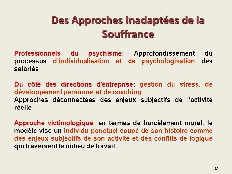 82 Des Approches Inadaptées de la Souffrance Professionnels du psychisme Professionnels du psychisme: Approfondissement du processus d'individualisati