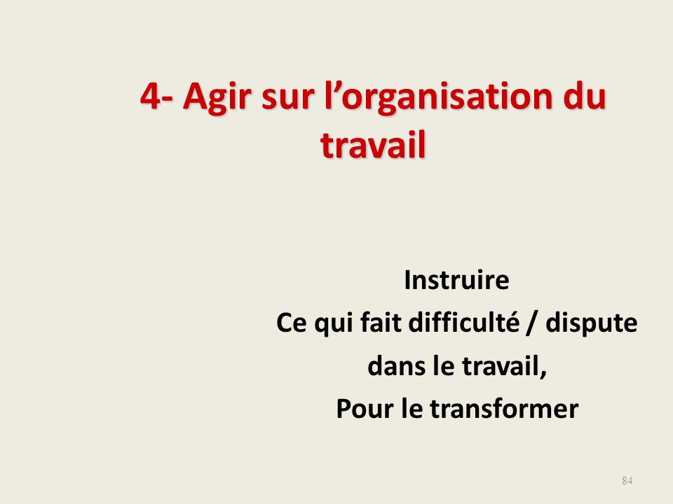 Instruire Ce qui fait difficulté / dispute dans le travail, Pour le transformer 4- Agir sur l'organisation du travail 84