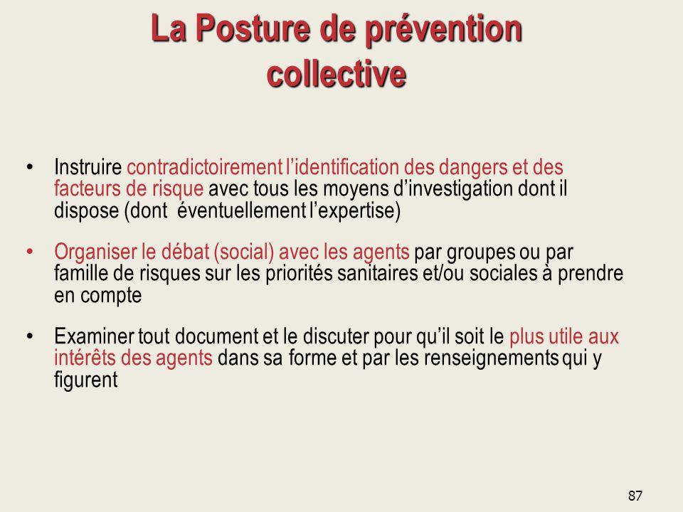 87 La Posture de prévention collective Instruire contradictoirement l'identification des dangers et des facteurs de risque avec tous les moyens d'inve