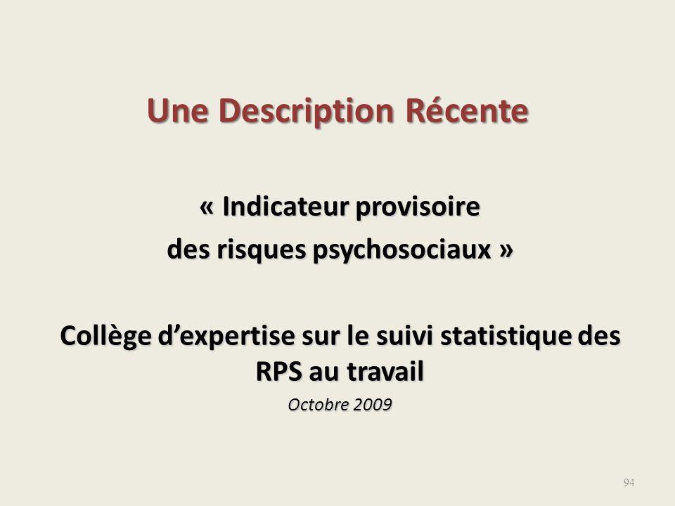« Indicateur provisoire des risques psychosociaux » Collège d'expertise sur le suivi statistique des RPS au travail Octobre 2009 Une Description Récen