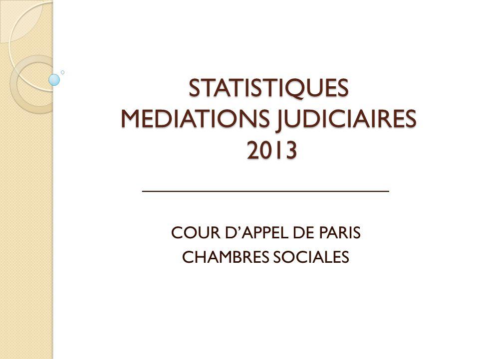 STATISTIQUES MEDIATIONS JUDICIAIRES 2013 __________________________ COUR D'APPEL DE PARIS CHAMBRES SOCIALES
