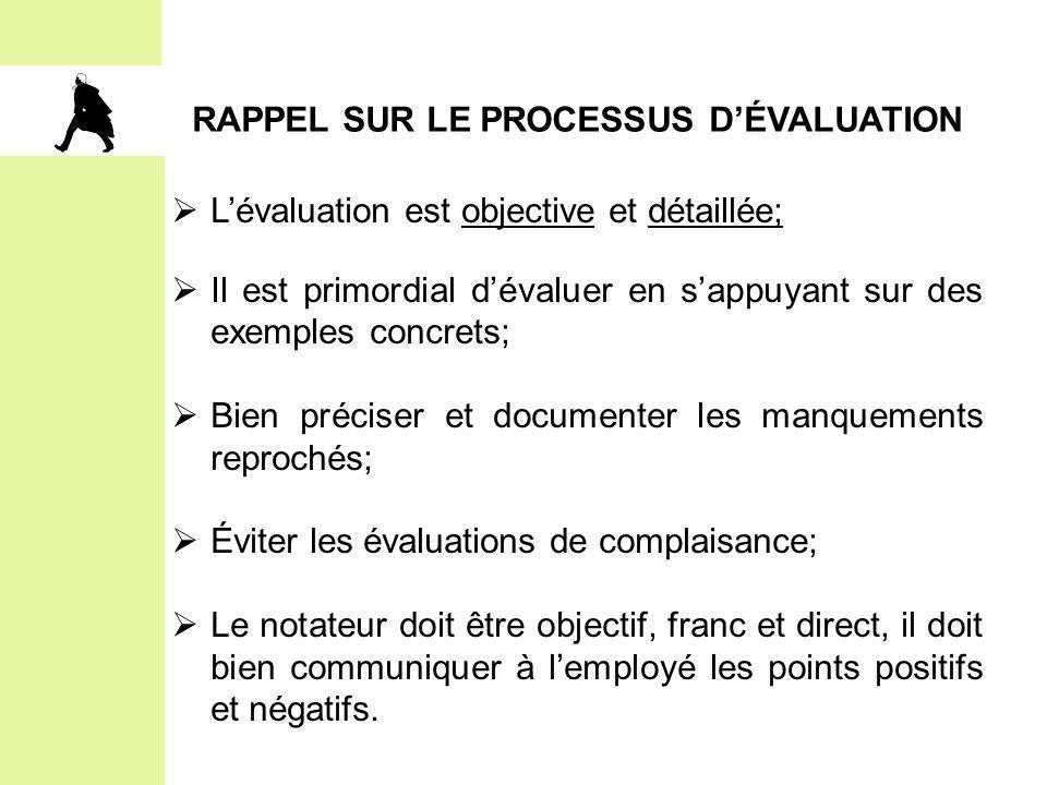 RAPPEL SUR LE PROCESSUS D'ÉVALUATION  L'évaluation est objective et détaillée;  Il est primordial d'évaluer en s'appuyant sur des exemples concrets;