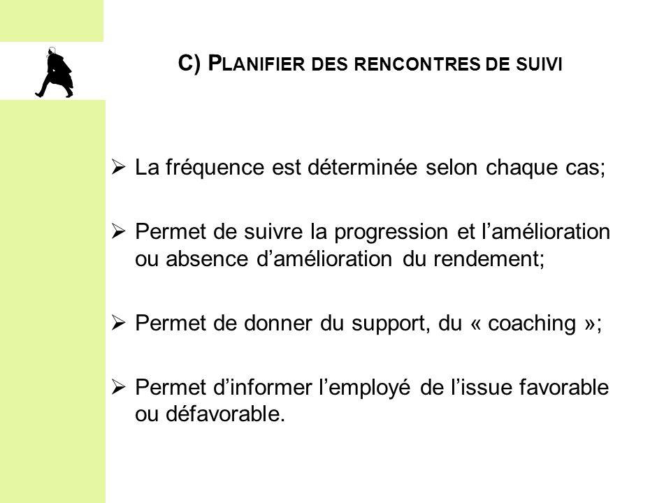C) P LANIFIER DES RENCONTRES DE SUIVI  La fréquence est déterminée selon chaque cas;  Permet de suivre la progression et l'amélioration ou absence d