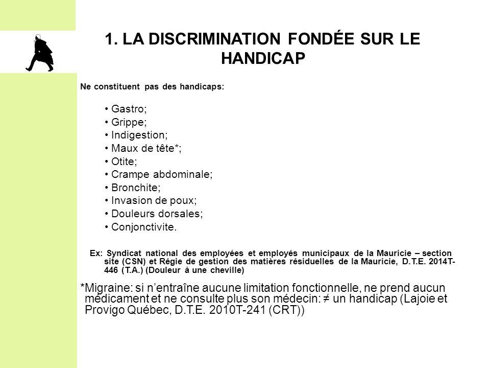 1. LA DISCRIMINATION FONDÉE SUR LE HANDICAP Ne constituent pas des handicaps: Gastro; Grippe; Indigestion; Maux de tête*; Otite; Crampe abdominale; Br