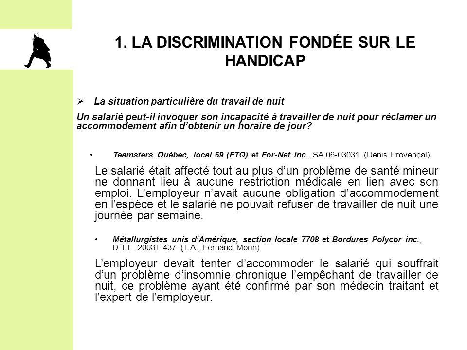 1. LA DISCRIMINATION FONDÉE SUR LE HANDICAP  La situation particulière du travail de nuit Un salarié peut-il invoquer son incapacité à travailler de